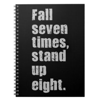 Gym Motivation - Fall Seven Times, Stand Up Eight Spiral Notebook