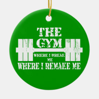 Gym Motivation Round Ceramic Ornament