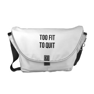 Gym Motivational Quotes Too Fit Black White Commuter Bag
