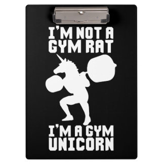 Gym Rat vs Gym Unicorn - Funny Workout Inspiration Clipboard