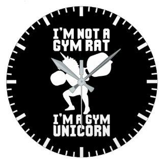 Gym Rat vs Gym Unicorn - Funny Workout Inspiration Large Clock