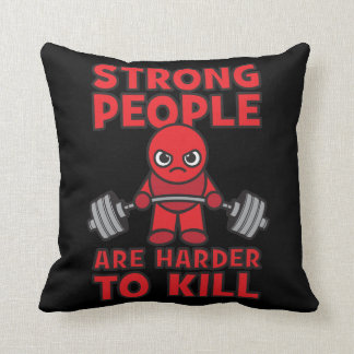 Gym - Strong People Are Harder To Kill - Kawaii Throw Pillow