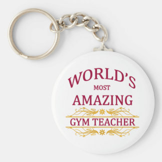 Gym Teacher Basic Round Button Keychain
