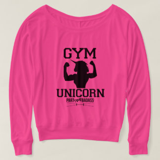 GYM UNICORN-long sleeve off the shoulder t T-shirt
