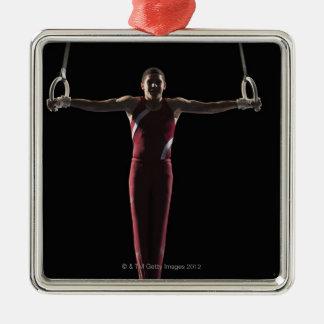 Gymnast 4 Silver-Colored square ornament
