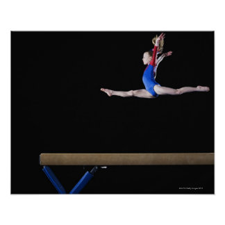 Gymnast 9-10 leaping on balance beam 2 posters