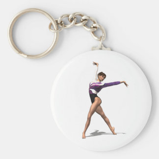 Gymnast Basic Round Button Keychain