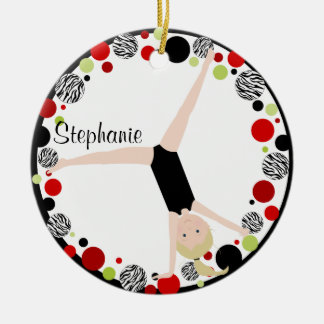 Gymnast Blonde in Red, Black & Green Personalized Round Ceramic Ornament