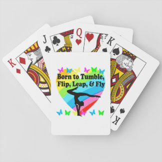 GYMNAST BORN TO TUMBLE AND FLY DESIGN POKER DECK