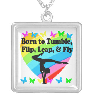 GYMNAST BORN TO TUMBLE AND FLY DESIGN SILVER PLATED NECKLACE