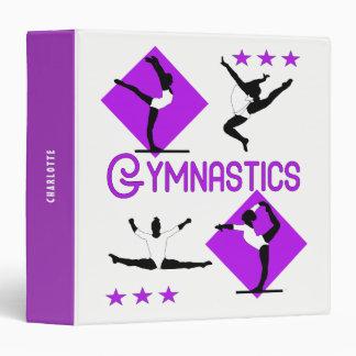 Gymnast Figures Cute Girls Gymnastics Personalized Binder