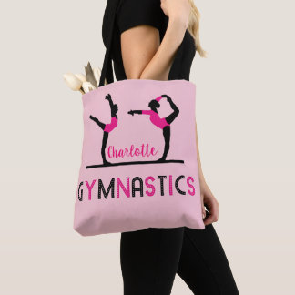 Gymnast Figures Cute Girls Gymnastics Personalized Tote Bag
