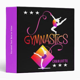 Gymnast Figures Cute Girls Gymnastics Personalized Vinyl Binders