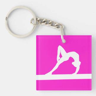 Gymnast Keychain w/Name Pink
