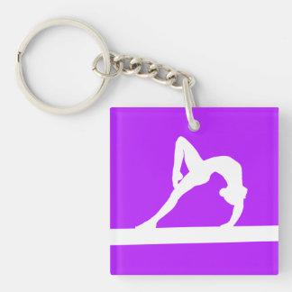 Gymnast Keychain w/Name Purple