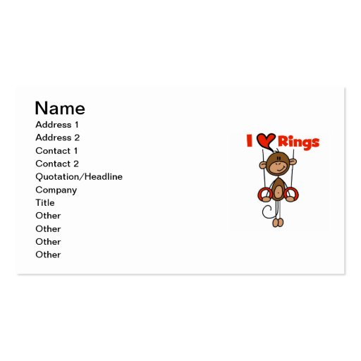 Gymnast Loves Rings Business Card Templates