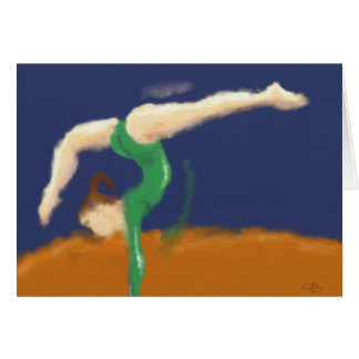 Gymnast on Balance Beam Art Card