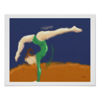 Gymnast on Balance Beam Art Poster