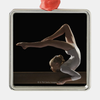 Gymnast on balance beam Silver-Colored square ornament