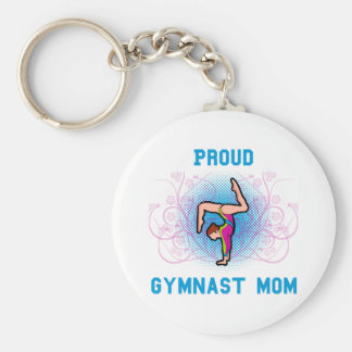 Gymnast Proud Mom Basic Round Button Keychain