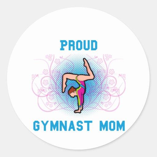 Gymnast Proud Mom Round Stickers