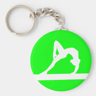 Gymnast Silhouette Keychain Green