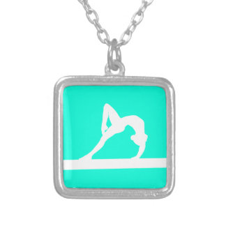 Gymnast Silhouette Necklace Turquoise