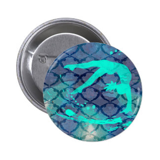 Gymnast Tribal Pattern Blue 2 Inch Round Button