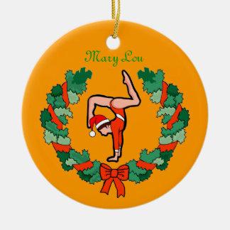 GymnastChick Wreath Handstand personalize ornament