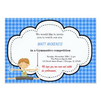 """Gymnastic Boy Competition (Blue) 5"""" X 7"""" Invitation Card"""