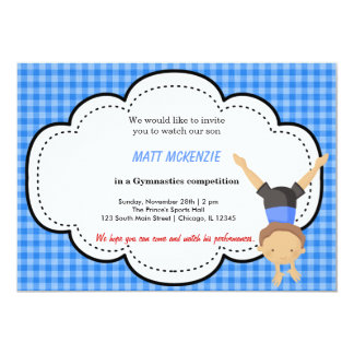 "Gymnastic Boy Competition (Blue) 5"" X 7"" Invitation Card"