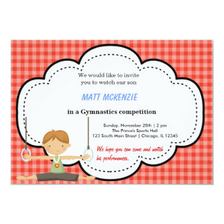 """Gymnastic Boy Competition (Red) 5"""" X 7"""" Invitation Card"""