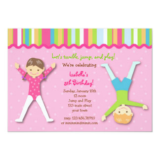 Gymnastic Gym Gymnast Birthday Party Invitations