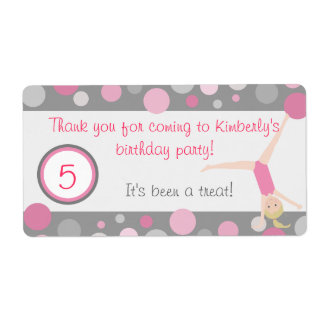 Gymnastic Party Favor Labels Pink & Gray