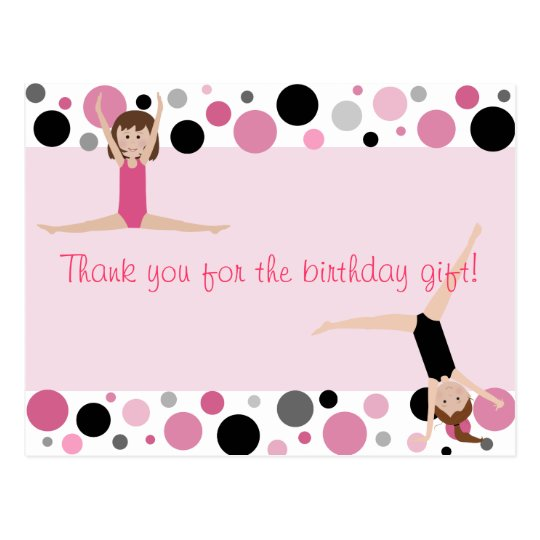 Gymnastic Party Thank You in Pink, Grey & Black Postcard