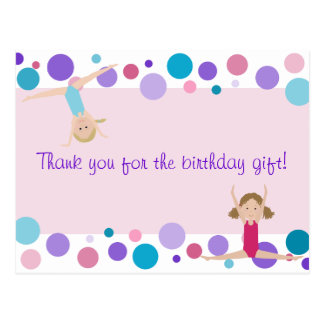 Gymnastic Party Thank You in Pink, Purple & Aqua Postcard