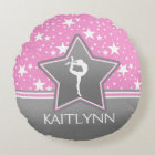 Gymnastics Among the Stars in Pink with YOUR NAME Round Pillow