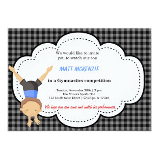"Gymnastics Boy competition 5"" X 7"" Invitation Card"