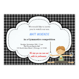 "Gymnastics Boy Competition (Black) 5"" X 7"" Invitation Card"