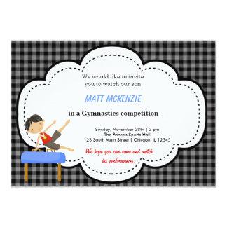 "Gymnastics Boy Competition (Black) 5"" X 7"" Invitation Card"