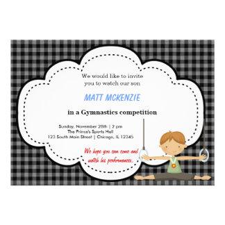 Gymnastics Boy Competition (Black) Custom Invites