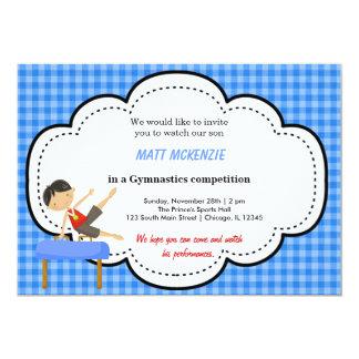 """Gymnastics Boy Competition (Blue) 5"""" X 7"""" Invitation Card"""