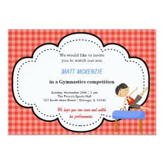 "Gymnastics Boy Competition (Red) 5"" X 7"" Invitation Card"