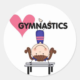 GYMNASTICS - Brunette Girl Handstands Classic Round Sticker