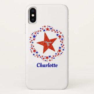 Gymnastics Cheer Stars Red White Blue Monogram iPhone X Case