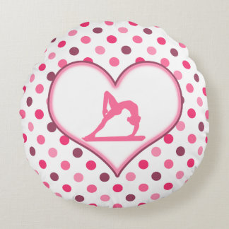 Gymnastics Cherry Polka-Dots Round Pillow