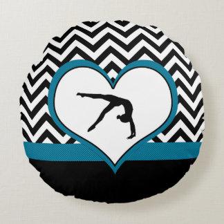 Gymnastics Chevron Heart in Black Round Pillow