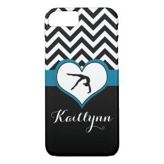 Gymnastics Chevron Heart with Monogram in Black iPhone 8/7 Case