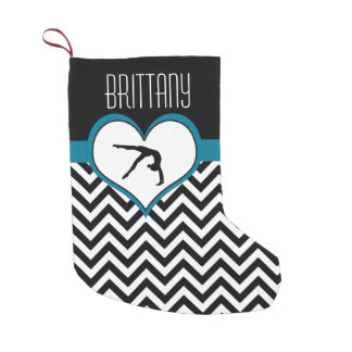 Gymnastics Chevron Heart with Monogram in Black Small Christmas Stocking
