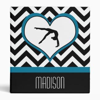 Gymnastics Chevron Heart with Monogram in Black Vinyl Binders